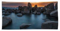Sand Harbor Sunset Hand Towel by Alpha Wanderlust