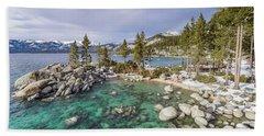 Sand Harbor Views Hand Towel by Alpha Wanderlust