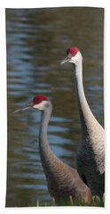 Sandhill Crane Couple By The Pond Hand Towel
