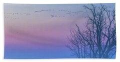 Sandhill Crane Flyover At Sunrise Bath Towel