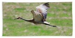 Sandhill Crane In Flight Hand Towel