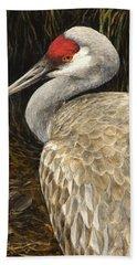 Sandhill Crane - Realistic Bird Wildlife Art Bath Towel