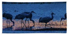 Sandhill Cranes At Twilight Bath Towel