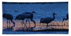 Sandhill Cranes At Twilight Hand Towel