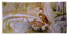Sandhill Cranes Chicks First Bath Bath Towel