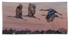 Sandhill Cranes In Flight Bath Towel