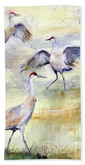 Wetlands Courtship - Sandhill Cranes Bath Towel