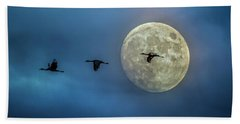 Sandhill Cranes With Full Moon Bath Towel
