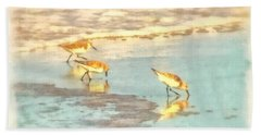 Sandpipers Along The Shoreline Bath Towel