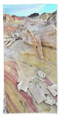 Sandstone Rainbow In Valley Of Fire Bath Towel by Ray Mathis