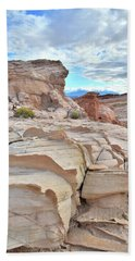 Sandstone Staircase In Valley Of Fire Bath Towel by Ray Mathis
