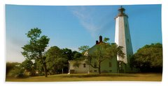 Bath Towel featuring the photograph Sandy Hook Lighthouse by Iconic Images Art Gallery David Pucciarelli