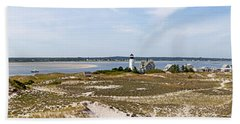 Sandy Neck Lighthouse With Fishing Boat Hand Towel