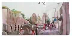 Bath Towel featuring the painting Sanfransisco Street by Becky Kim