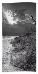 Hand Towel featuring the photograph Sanibel Dune At Sunset In Black And White by Greg Mimbs