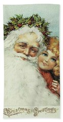 Santa And His Little Admirer Hand Towel by Reynold Jay