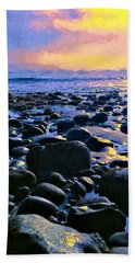 Santa Barbara Beach Sunset California Hand Towel