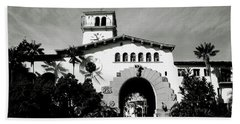 Santa Barbara Courthouse Black And White-by Linda Woods Hand Towel by Linda Woods
