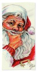 Santa Checking Twice Christmas Image Hand Towel