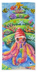 Santa Crab Bath Towel by Li Newton