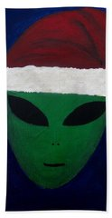 Bath Towel featuring the painting Santa Hat by Lola Connelly