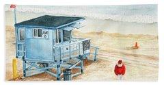 Santa Is On The Beach Hand Towel