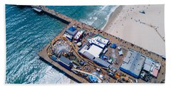 Santa Monica Pier From Above Side Bath Towel