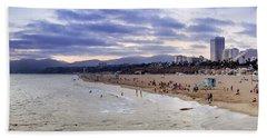 Santa Monica Sunset Panorama Bath Towel