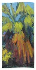 Hand Towel featuring the painting Santa Rosa Visitors Center Palms by Diane McClary