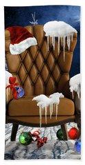 Santa's Chair Hand Towel by Mihaela Pater