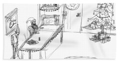 Hand Towel featuring the drawing Santas Chrismassy Office by Artists With Autism Inc