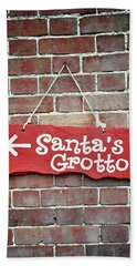 Santa's Grottos Sign  Hand Towel
