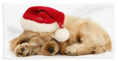 Santa's Sleepy Spaniel Bath Towel