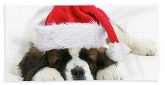 Santa's Snoozing Saint Bernard Hand Towel