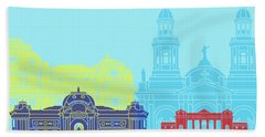 Santiago De Chile V2 Skyline Pop Hand Towel