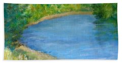 Santiam River - Summer Colorful Original Landscape Hand Towel by Elizabeth Sawyer