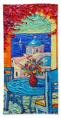 Santorini Dream Greece Contemporary Impressionist Palette Knife Oil Painting By Ana Maria Edulescu Bath Towel