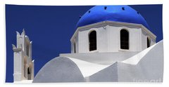 Santorini Greece Architectual Line 2 Hand Towel by Bob Christopher