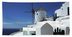 Santorini Greece Architectual Line 5 Hand Towel by Bob Christopher