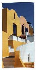 Santorini Greece Architectual Line Hand Towel by Bob Christopher