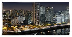 Sao Paulo Iconic Skyline - Cable-stayed Bridge  Bath Towel