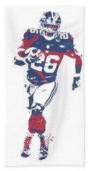 Saquon Barkley New York Giants Pixel Art 3 Bath Towel