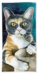 Sassy - Calico Cat Painting Bath Towel