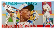 Hand Towel featuring the painting Satchel Paige by Cliff Spohn