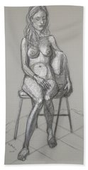 Hand Towel featuring the drawing Savannah Seated #1 by Donelli  DiMaria