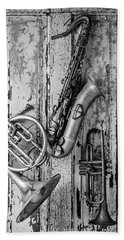 Sax French Horn And Trumpet Hand Towel