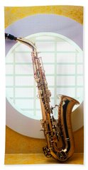 Saxophone In Round Window Hand Towel