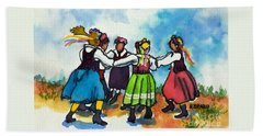 Scandinavian Dancers Hand Towel