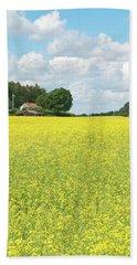 Scandinavian Summer Landscape With Yellow Meadow Bath Towel