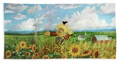 Scare Crow And Silo Farm Hand Towel by Bonnie Siracusa